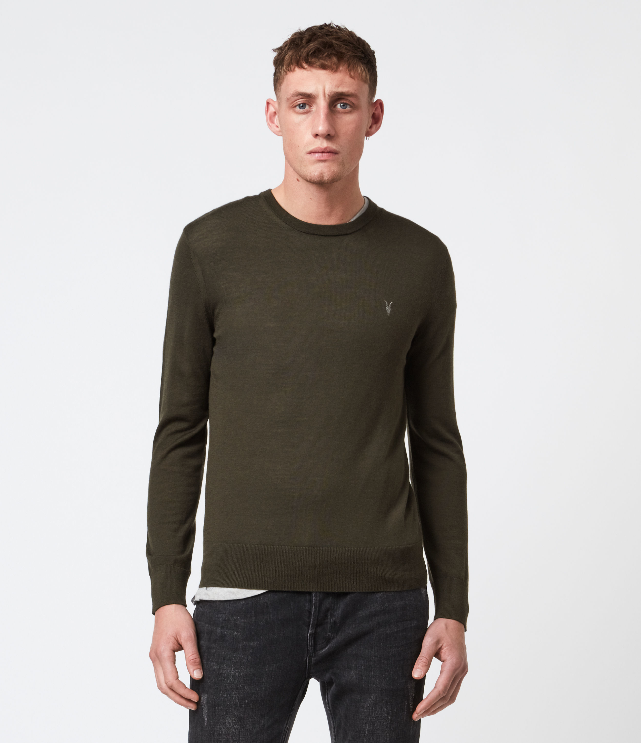AllSaints Men's Merino Wool Lightweight Mode Crew Jumper, Green, Size: XS