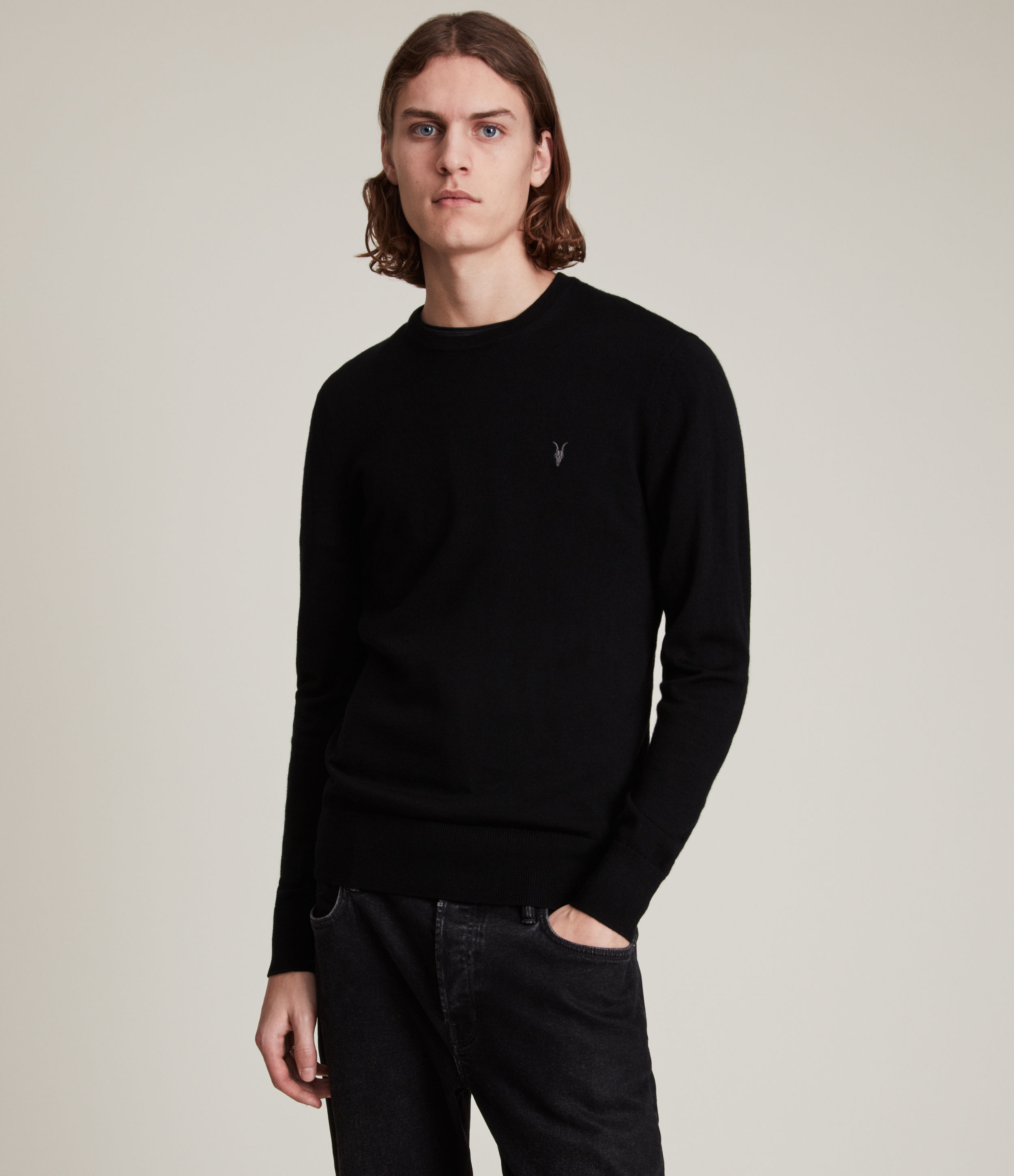 AllSaints Men's Merino Wool Lightweight Mode Crew Jumper, Black, Size: M