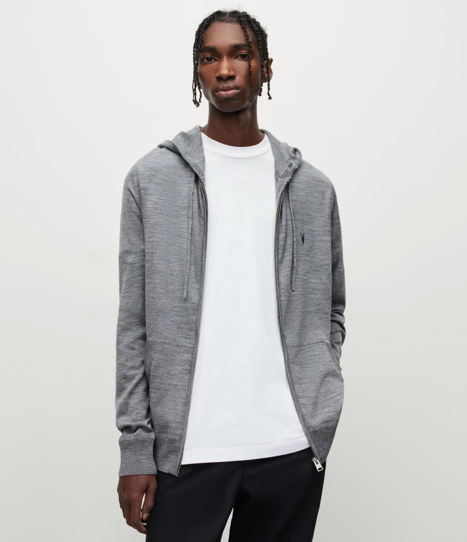 AllSaints Men's Merino Wool Lightweight Mode Zip Hoodie, Grey, Size: XL