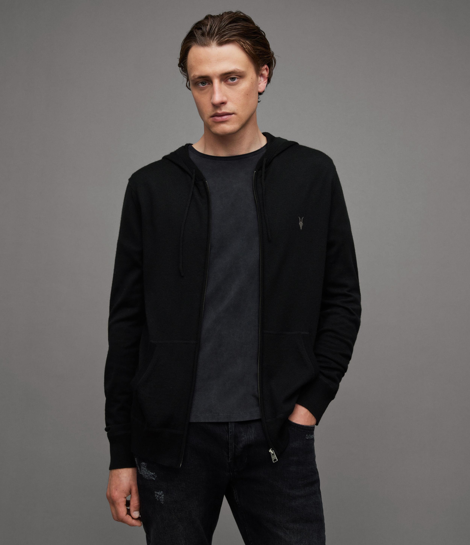 AllSaints Men's Merino Wool Lightweight Mode Zip Hoodie, Black, Size: L