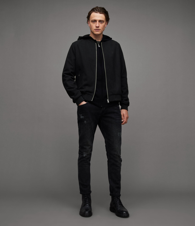 AllSaints Men's Merino Wool Lightweight Mode Zip Hoodie, Black, Size: XL