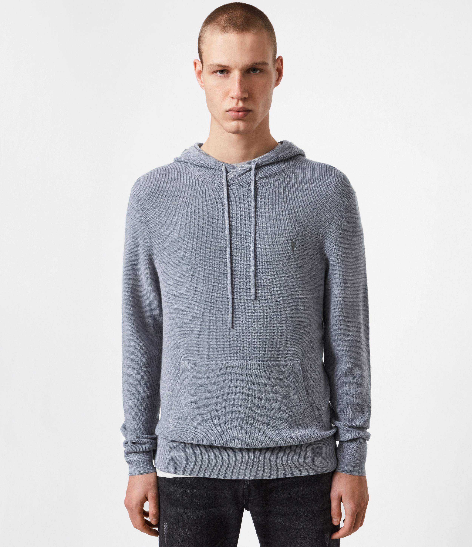 AllSaints Mens Ivar Merino Hoodie, Twilight Blue Marl, Size: XS