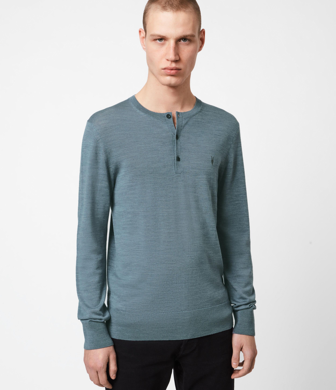 AllSaints Mens Mode Merino Henley, Twilight Blue Marl, Size: S