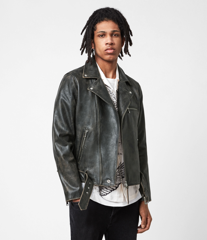 AllSaints Mens Hank Leather Biker Jacket, Brown, Size: XS