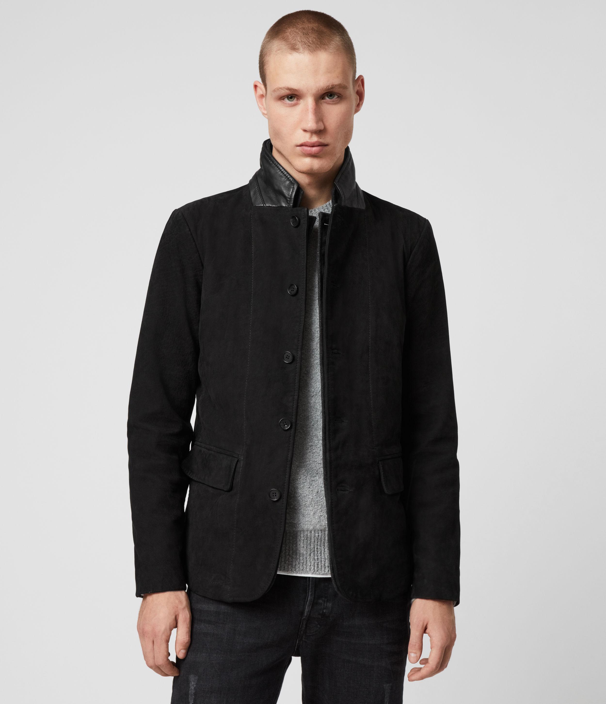 AllSaints Men's Slim Fit Buffalo Leather Two Layer Survey Blazer, Black, Size: XS