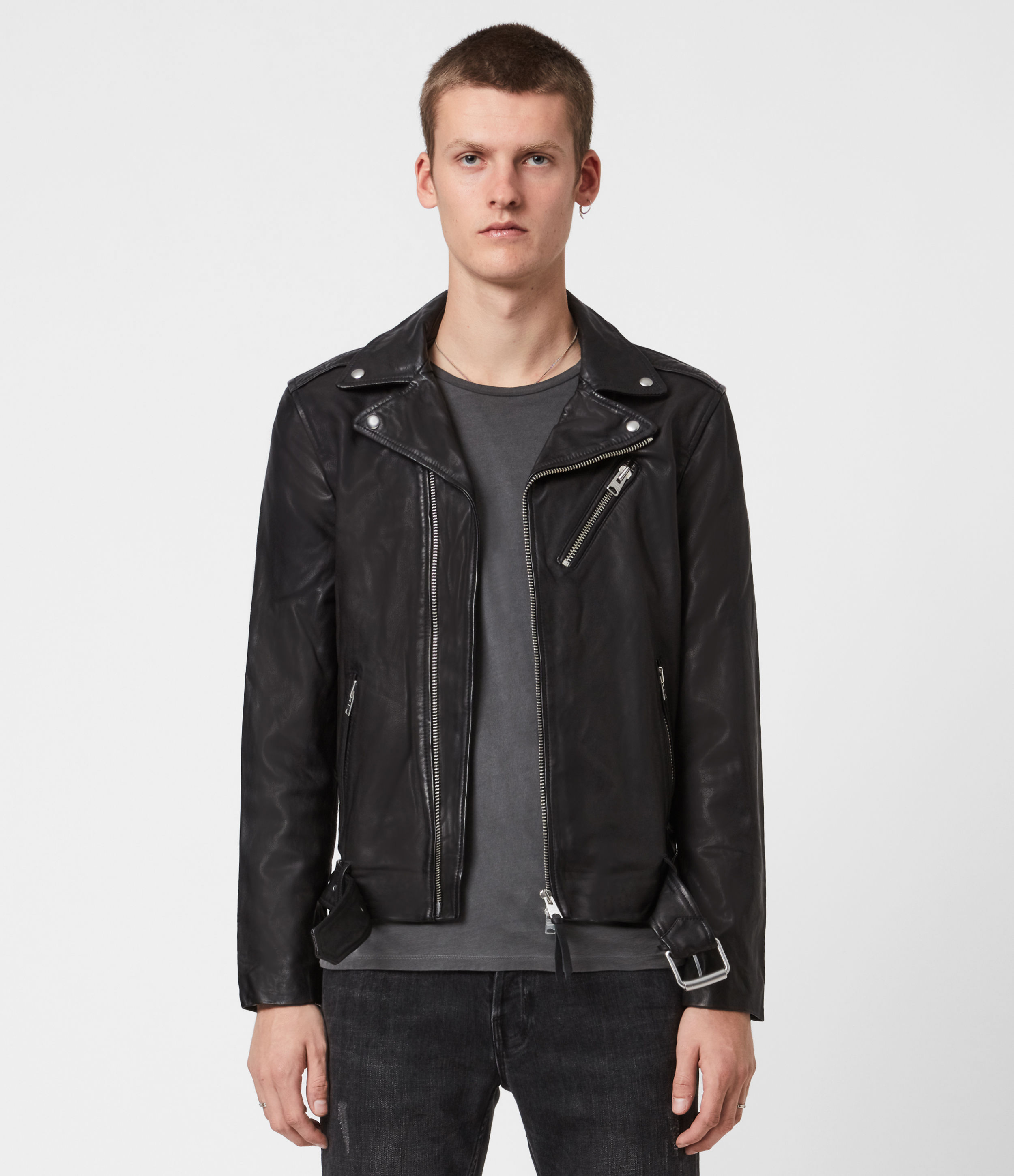AllSaints Rigg Leather Biker Jacket, Black, Mens, Size: XXL