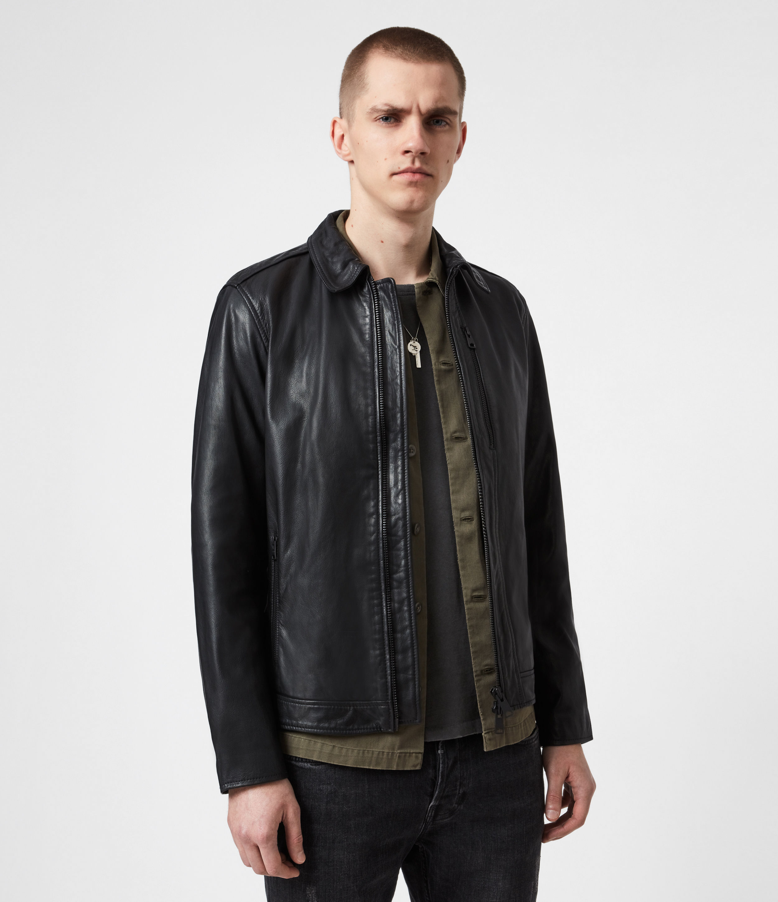AllSaints Mens Timo Leather Jacket, Black, Size: XS