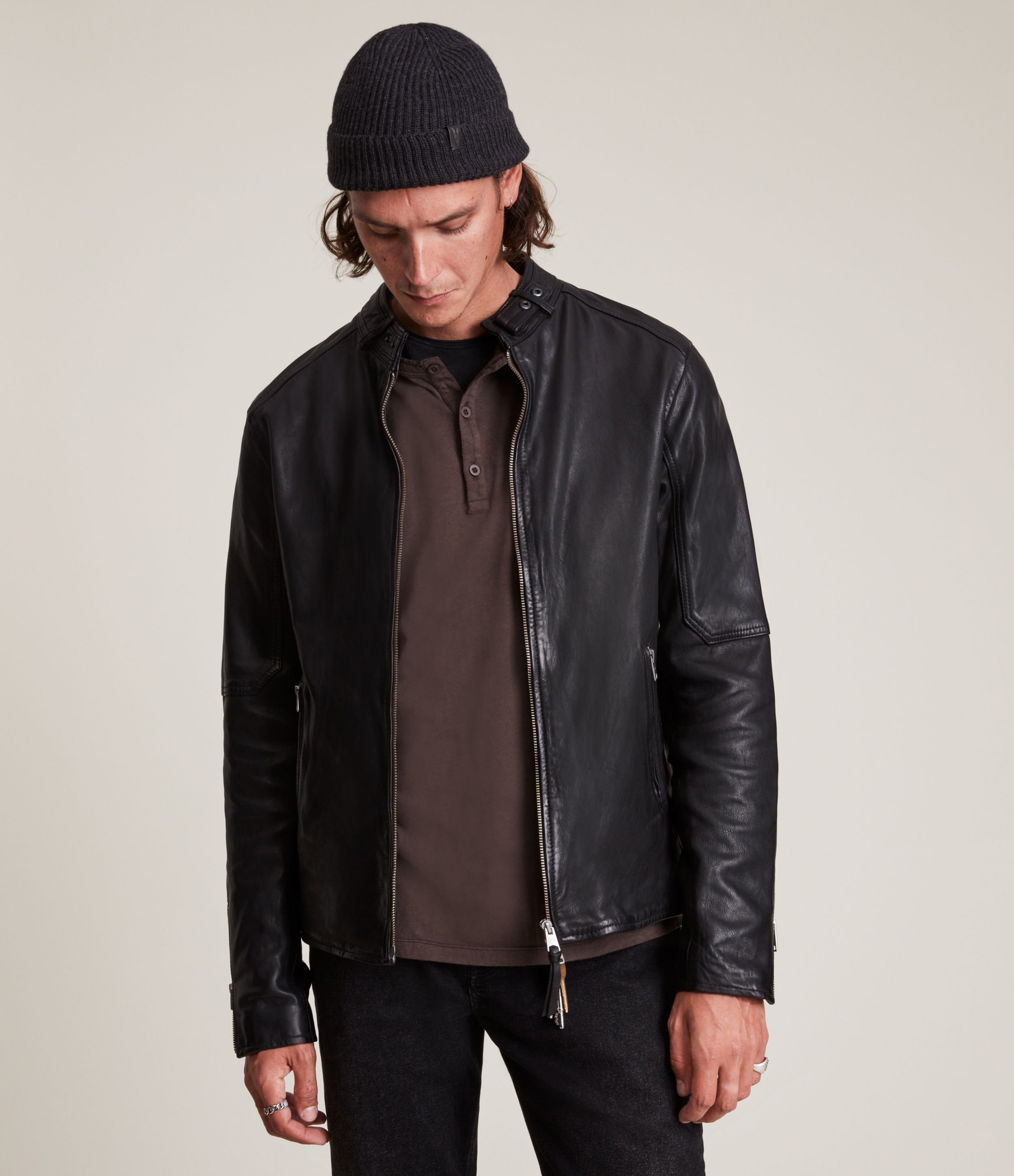 AllSaints Men's Leather Traditional Cora Jacket, Black, Size: XS