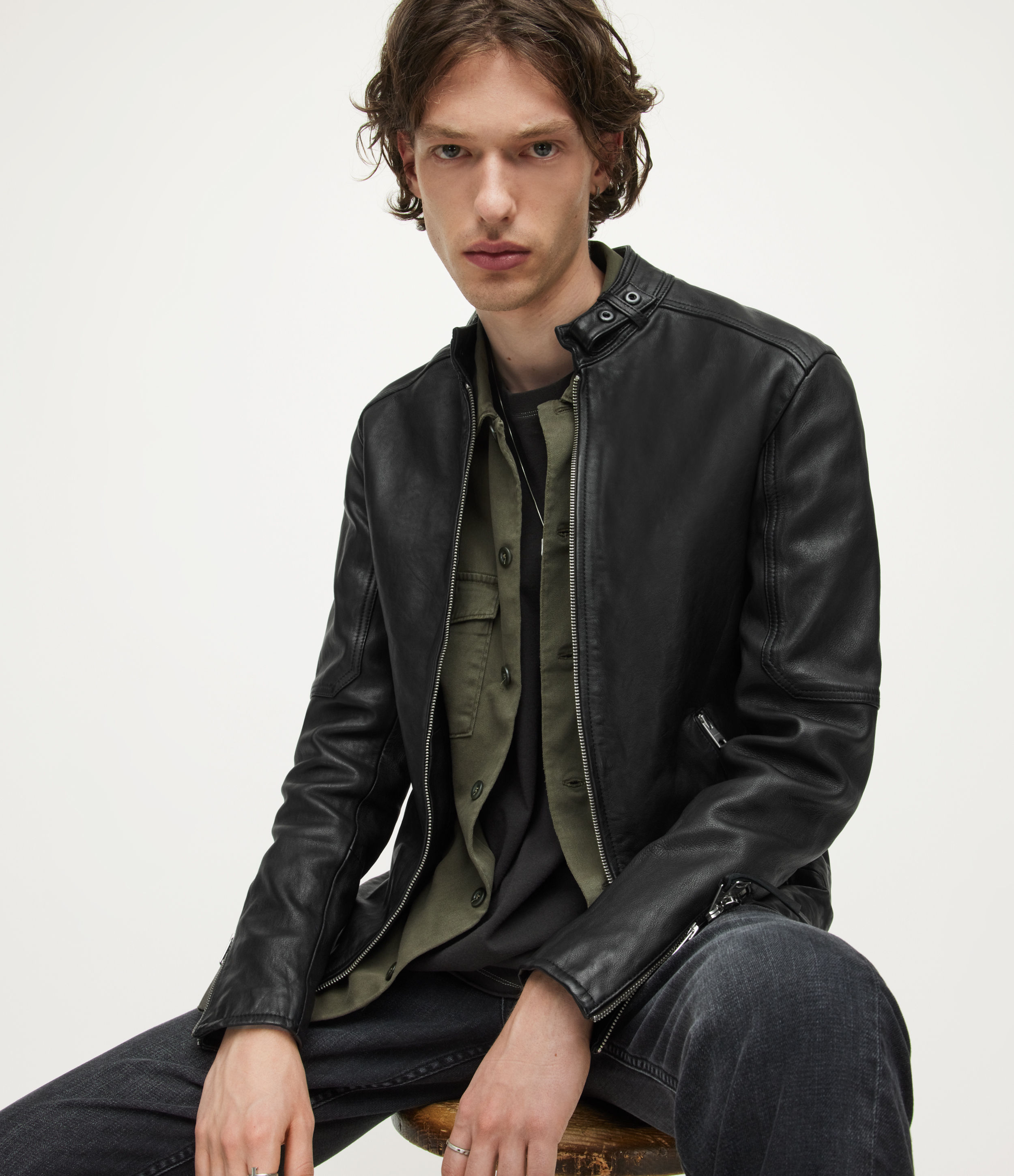 AllSaints Men's Leather Traditional Cotton Cora Jacket, Black, Size: XL