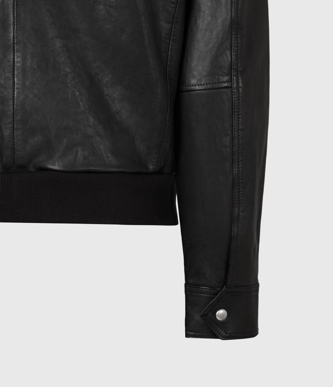 AllSaints Men's Hopkin Leather Jacket, Deep Grey, Size: M