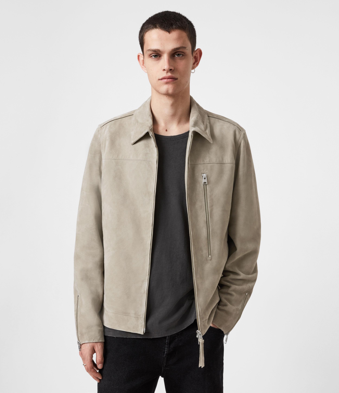 AllSaints Mens Eadric Suede Jacket, Cement Grey, Size: XS