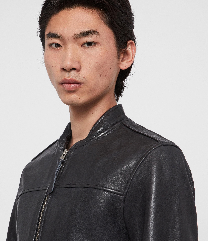 AllSaints Mens Marsh Leather Jacket, Black, Size: S