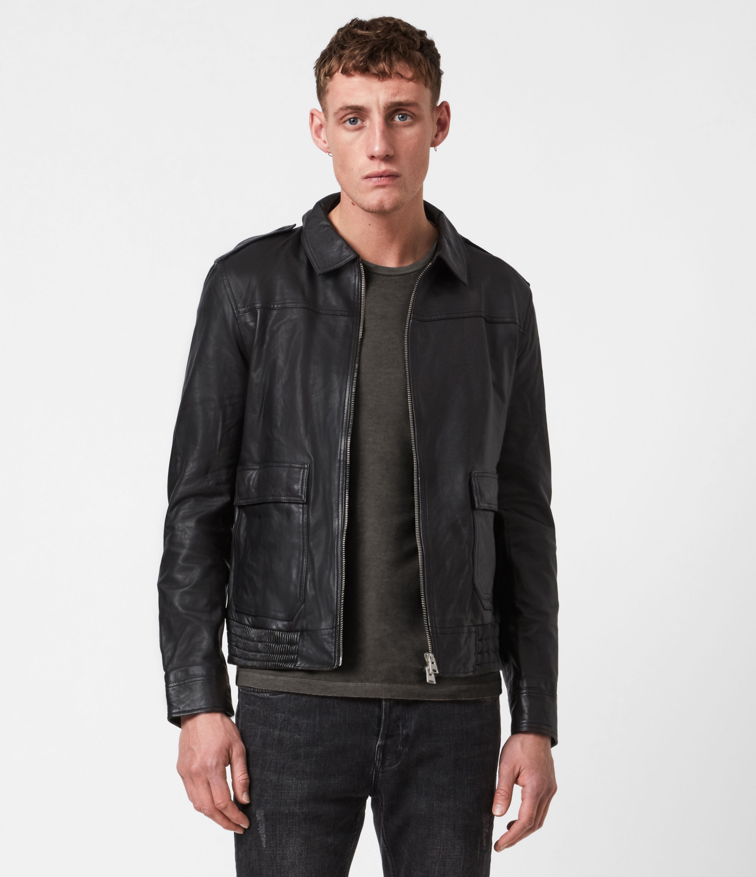 AllSaints Mack Leather Aviator Jacket