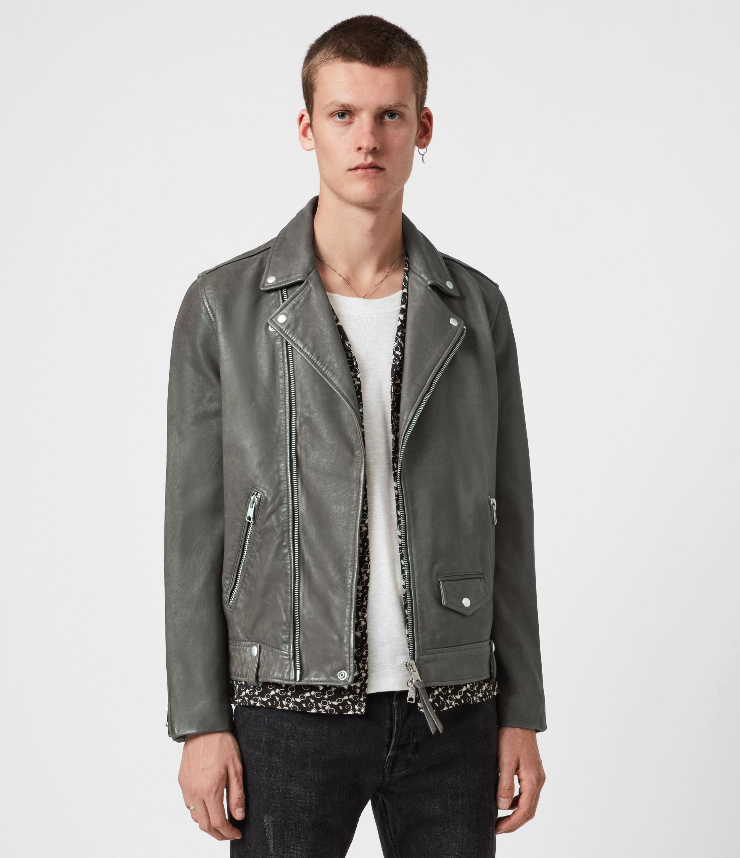 AllSaints Milo Leather Biker Jacket, Khaki Green, Mens, Size: XS