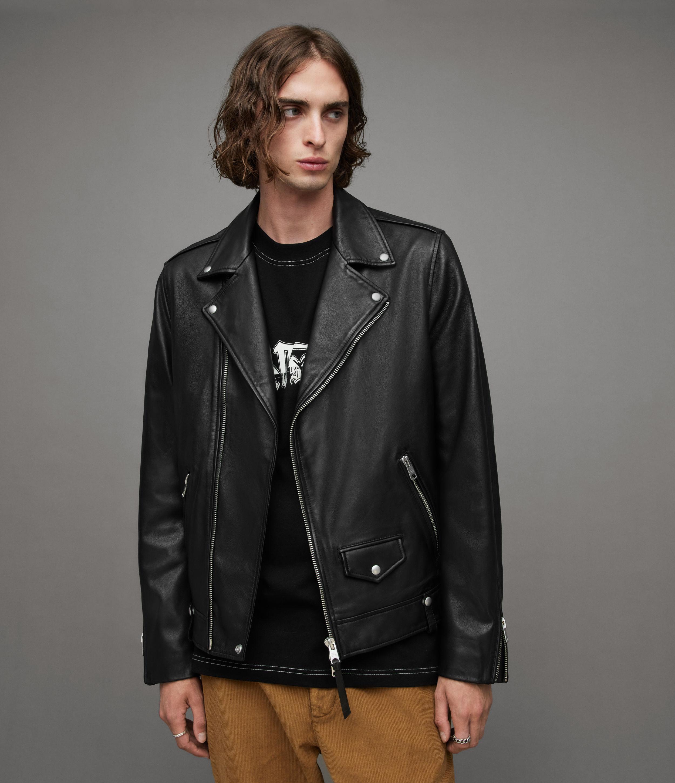AllSaints Men's Leather Slim Fit Milo Biker Jacket, Black, Size: XS