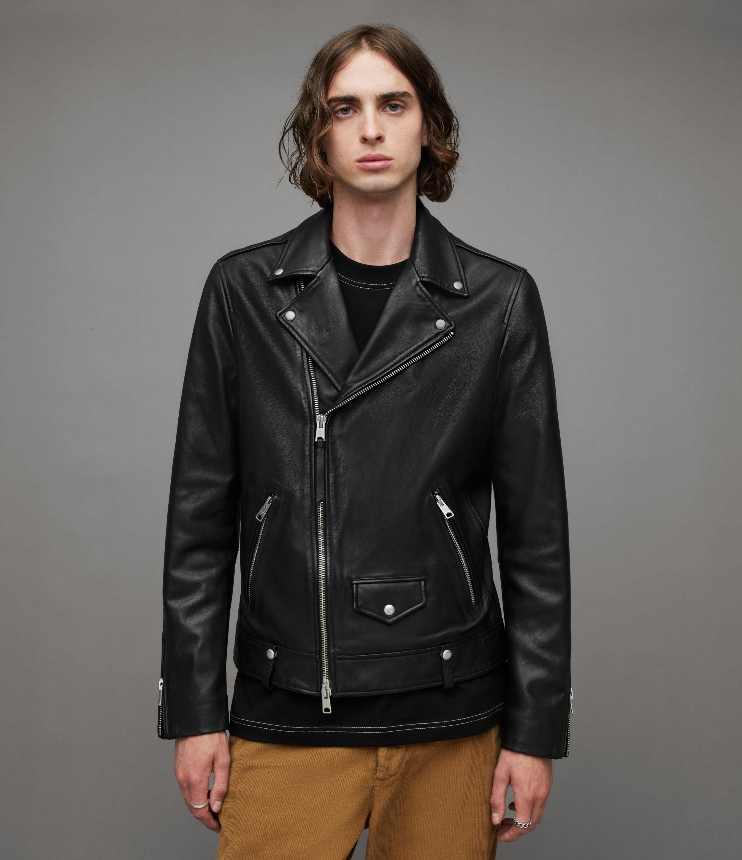 AllSaints Men's Leather Slim Milo Biker Jacket, Black, Size: L