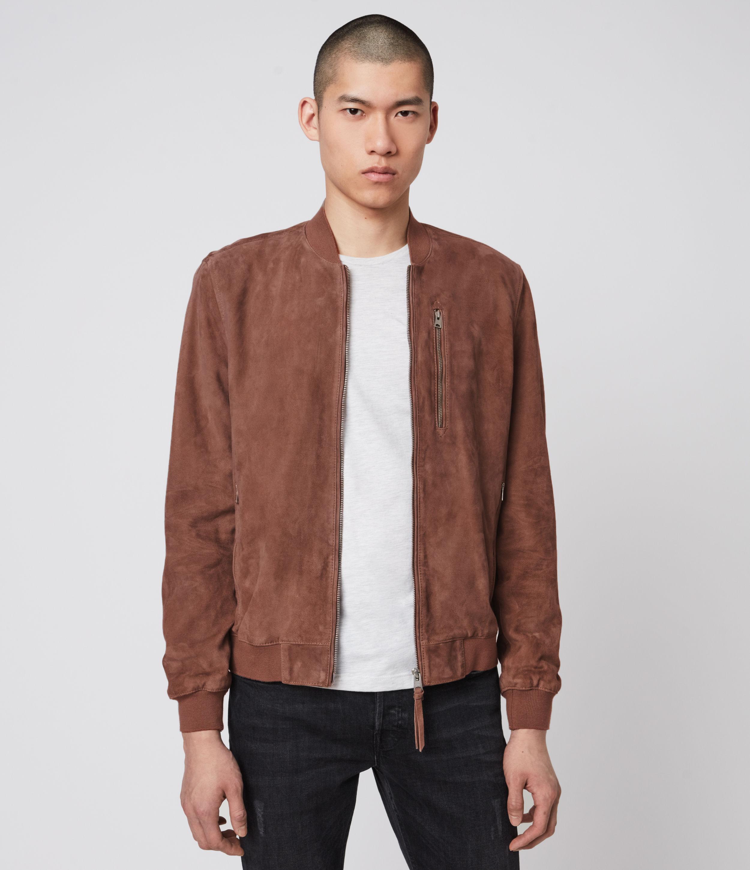 AllSaints Men's Cotton Slim Fit Kemble Suede Bomber Jacket, Red, Size: L
