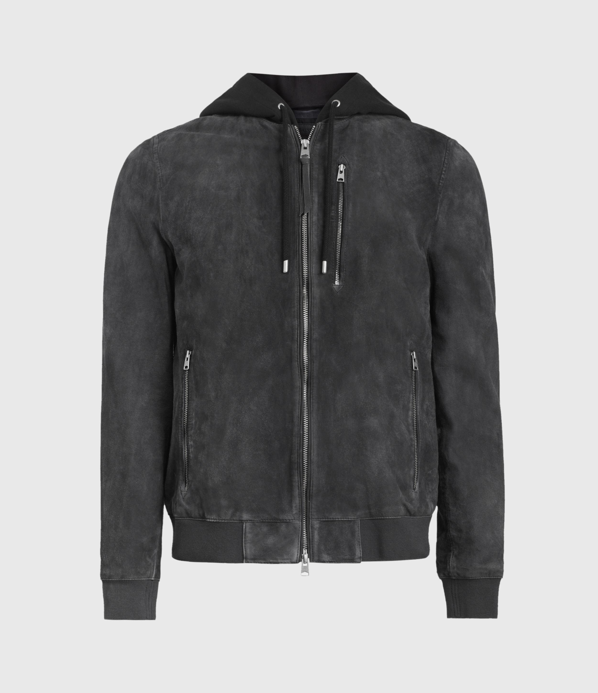 AllSaints Men's Cotton Regular Fit Troy Suede Bomber Jacket, Black, Size: L