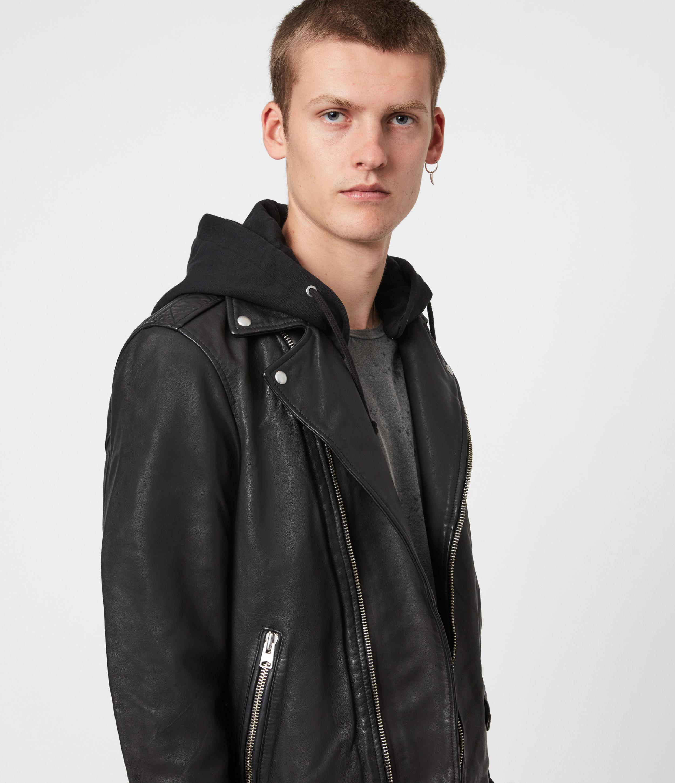 AllSaints Men's Leather Slim Fit Renzo Zip Closure Hooded Biker Jacket, Black, Size: M