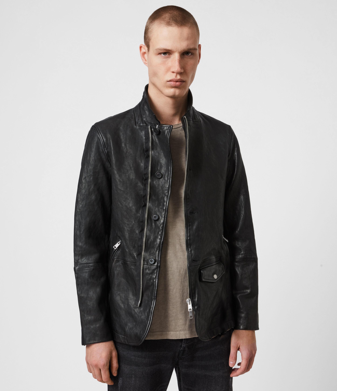 AllSaints Mens Axel Leather Blazer, Black, Size: XL