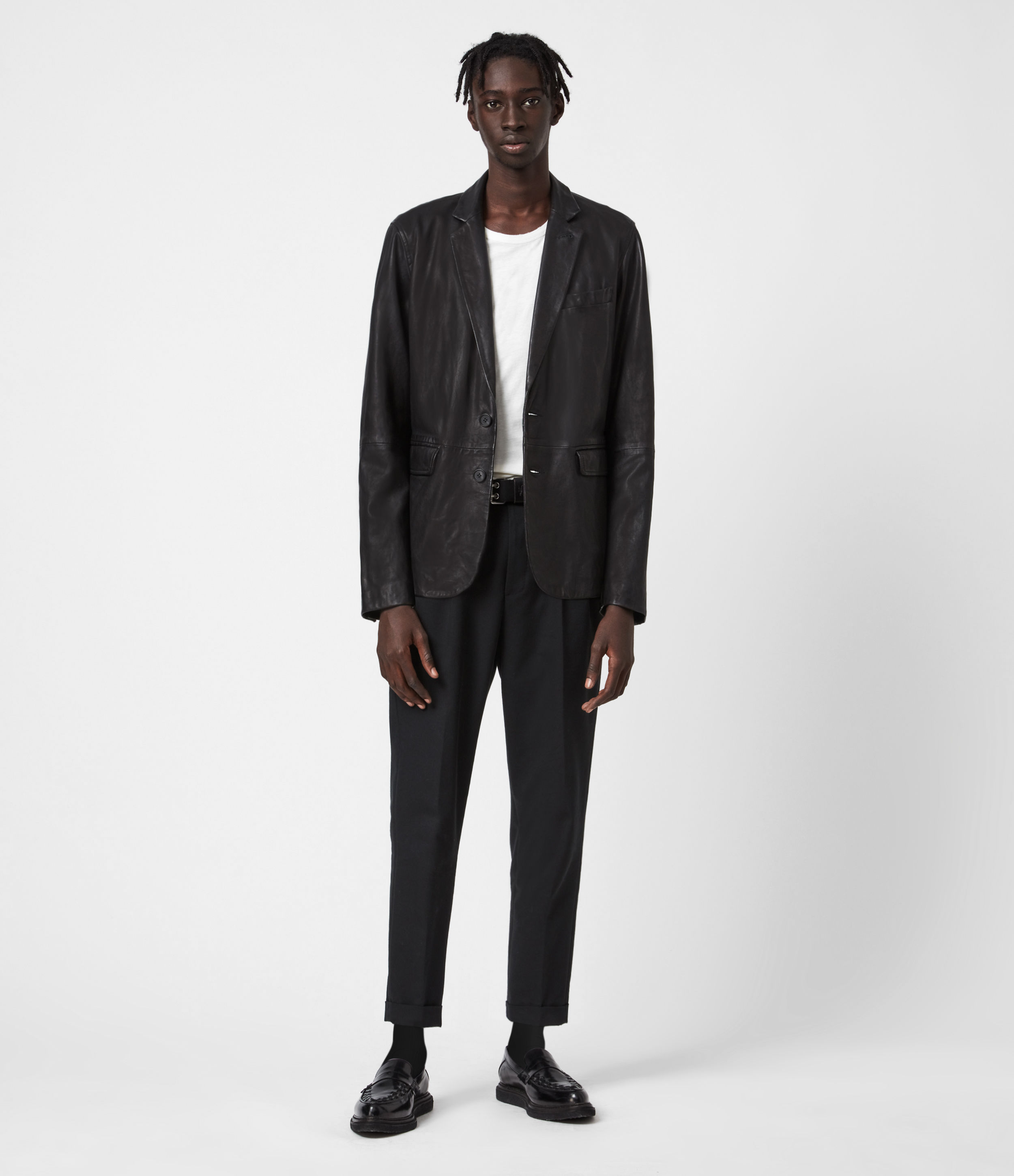 AllSaints Barton Leather Blazer