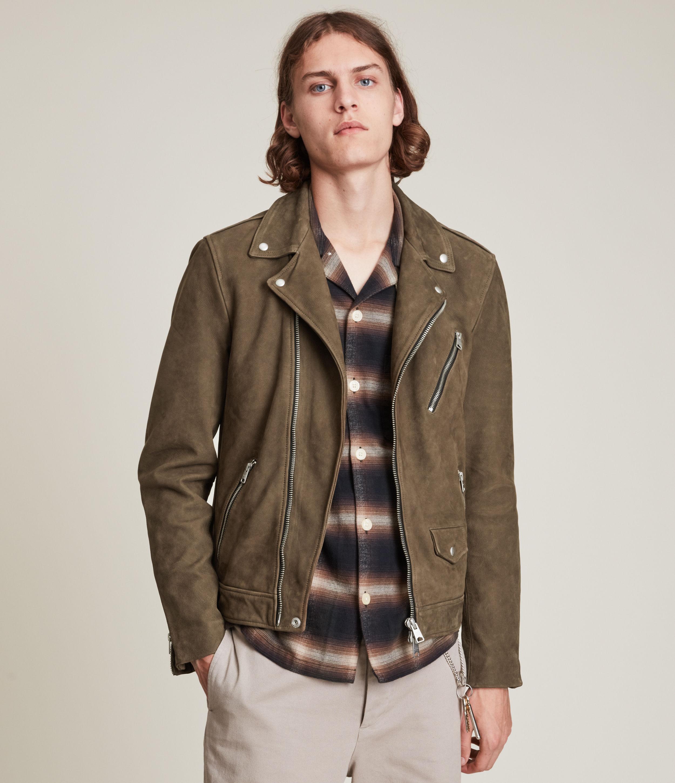 AllSaints Men's Niles Leather Biker Jacket, Khaki, Size: S