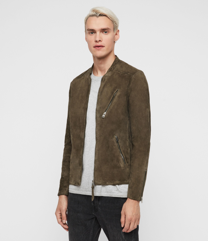 AllSaints Mens Holbrooke Suede Jacket, Green, Size: M
