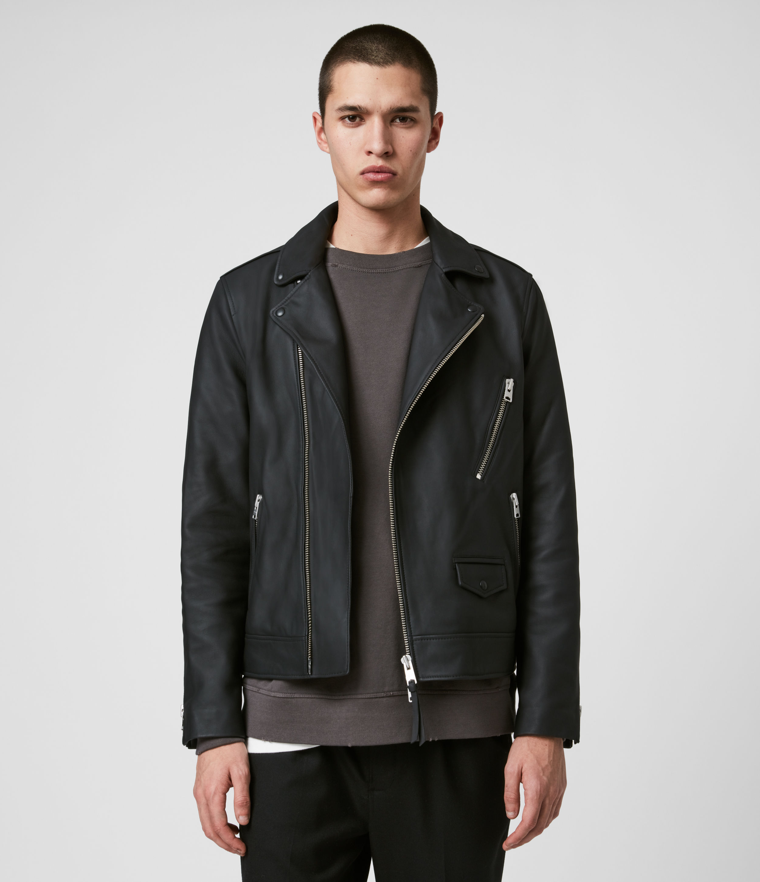AllSaints Bloc Leather Biker Jacket