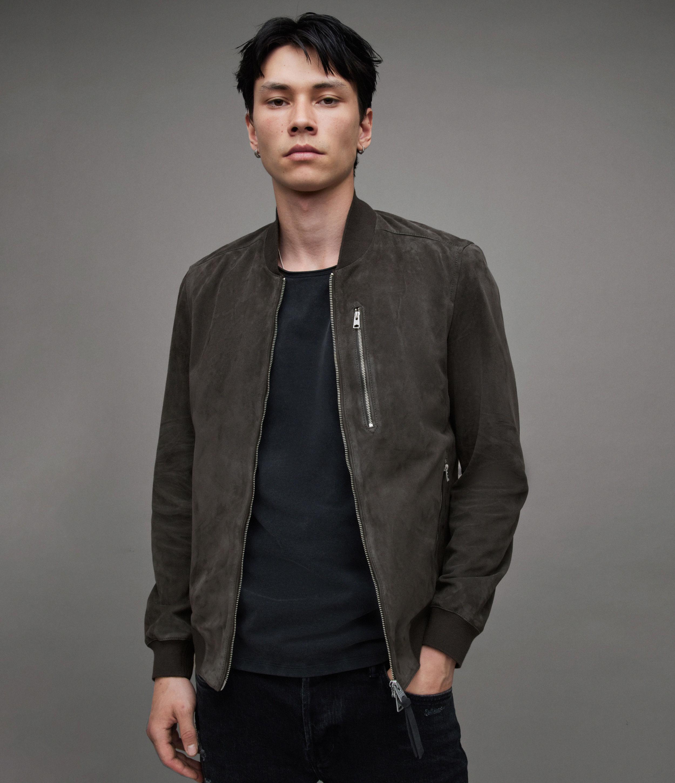 AllSaints Men's Slim Fit Soft Suede Kemble Ribbed Bomber Jacket, Grey, Size: XS