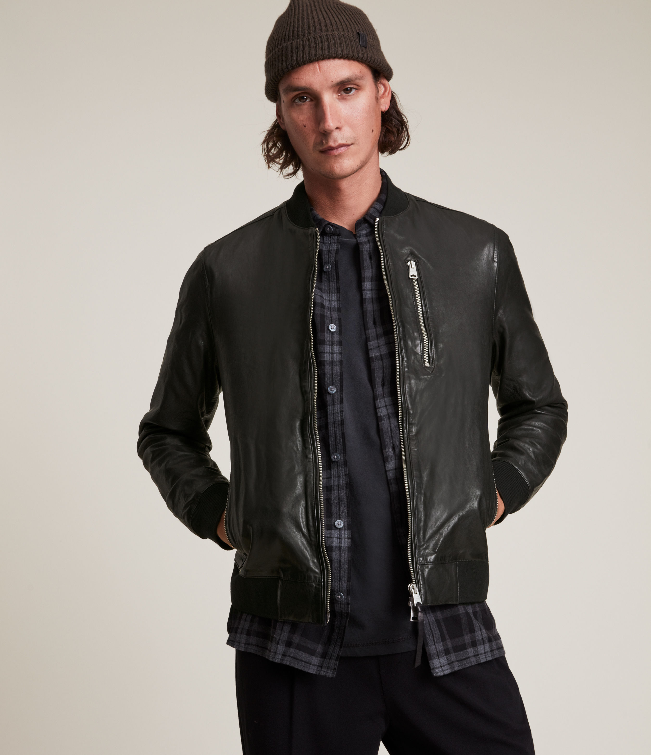 AllSaints Boyton Leather Bomber Jacket