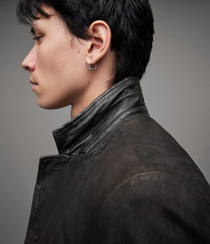 AllSaints Men's Leather Slim Fit Long Sleeve Survey Blazer, Black, Size: L