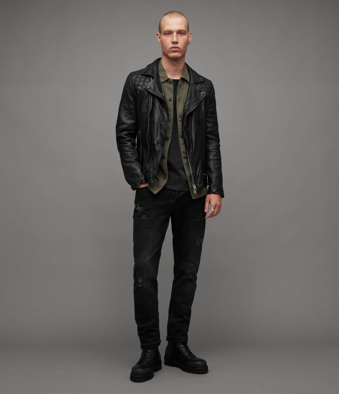 AllSaints Men's Leather Regular Fit Traditional Conroy Biker Jacket, Blue, Size: XL