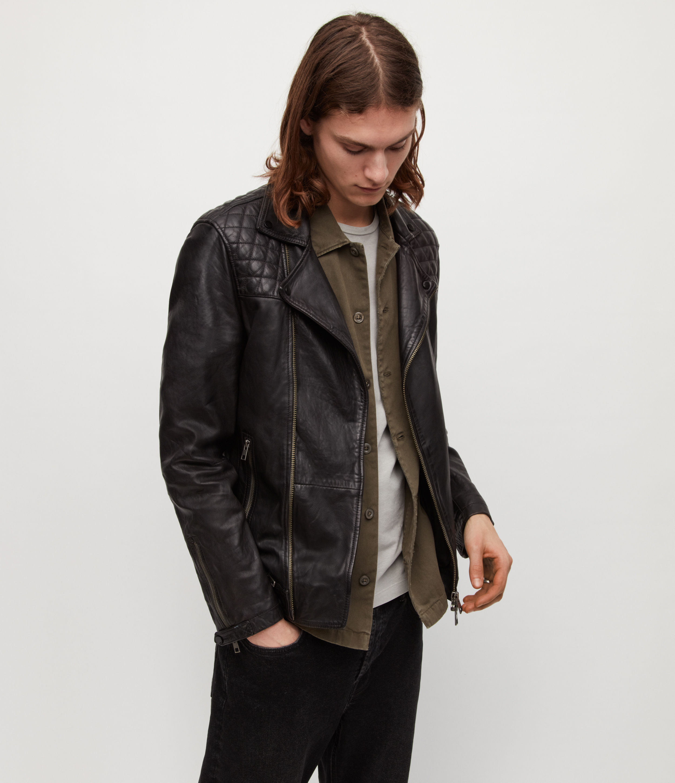 AllSaints Men's Leather Crinkled Effect Regular Fit Quilted Traditional Conroy Biker Jacket, Navy Bl