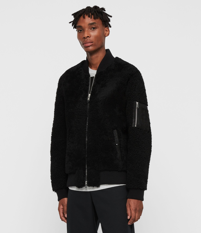 AllSaints Mens Dale Shearling Bomber Jacket, Black, Size: M