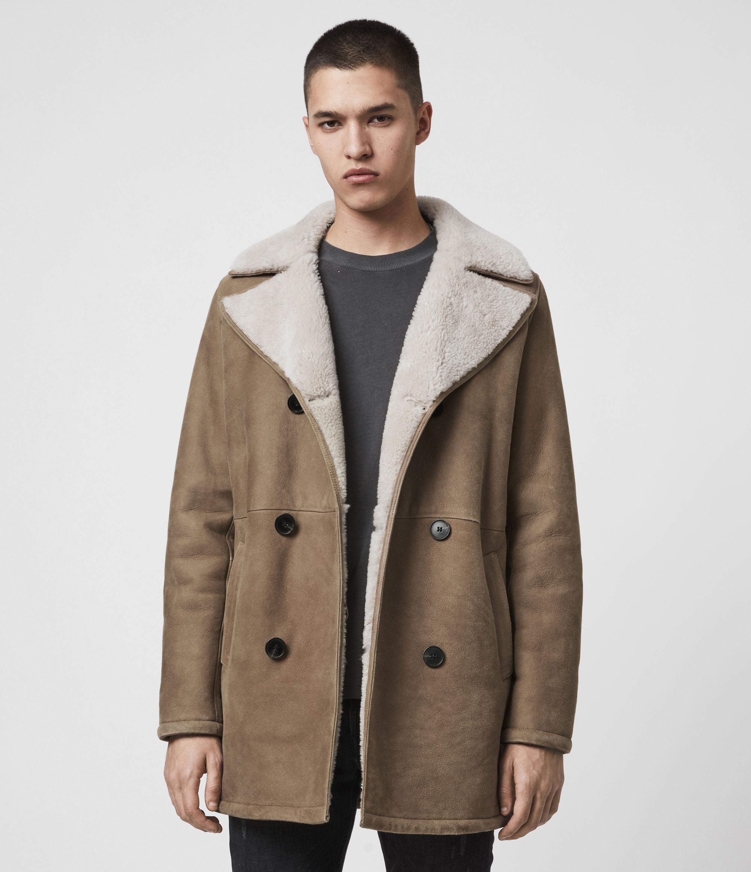 AllSaints Men's Sheepskin Slim Fit Kenley Shearling Coat, Brown, Size: S