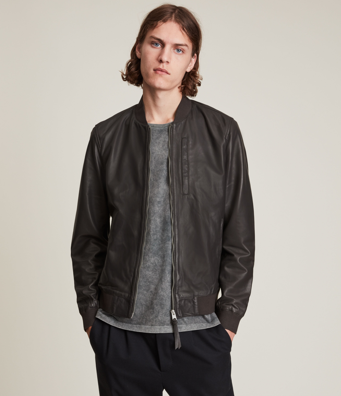 AllSaints Men's Bales Leather Bomber Jacket, Slate Grey, Size: S