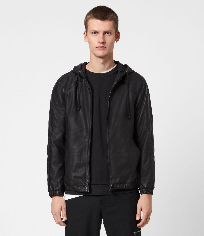 AllSaints Mens Penton Leather Hoodie, Black, Size: M