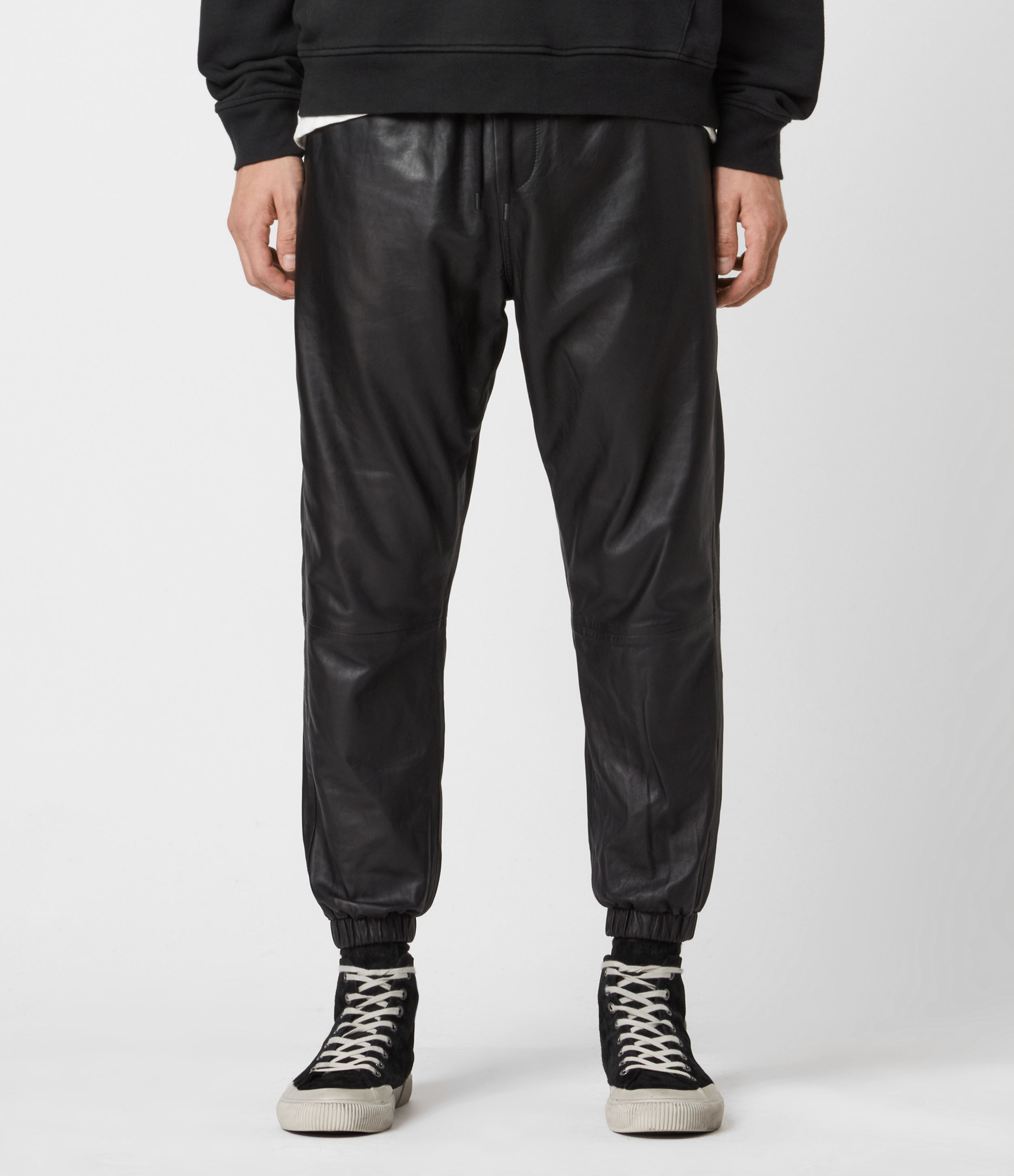 AllSaints Penton Leather Cuffed Trousers
