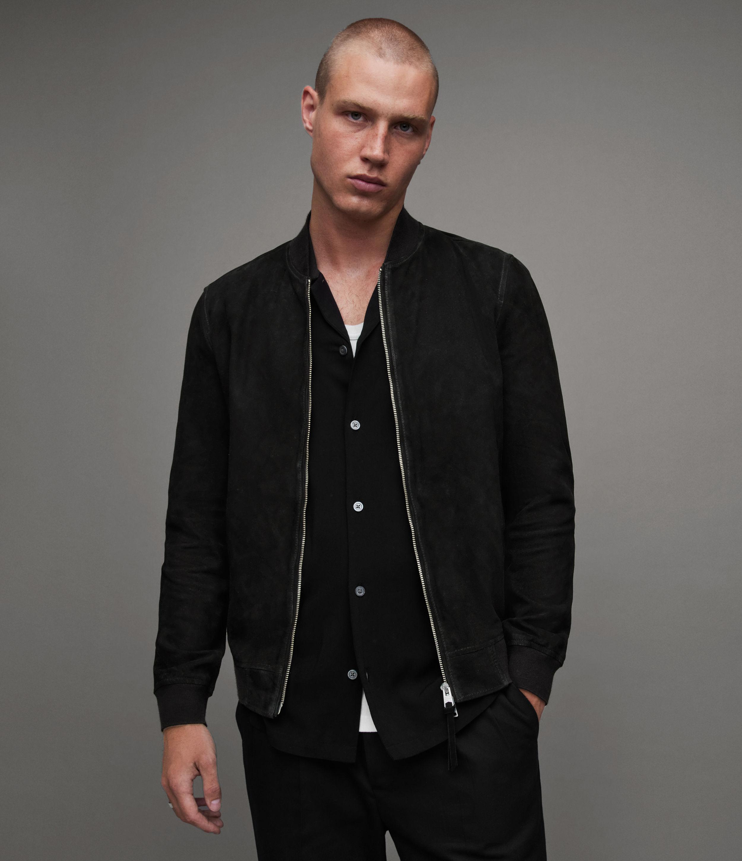 AllSaints Men's Ronan Suede Bomber Jacket, Black, Size: XS