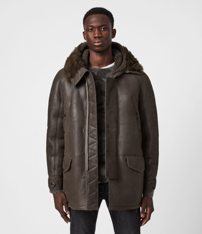 AllSaints Men's Sheepskin Regular Fit Reidun Shearling Parka, Green, Size: M