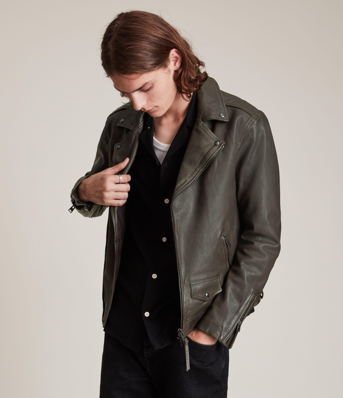 AllSaints Men's Milo Leather Biker Jacket, Grey, Size: M