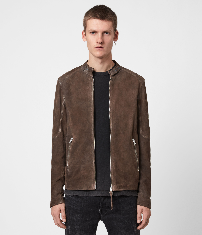 AllSaints Mens Grantham Suede Jacket, Light Taupe, Size: S