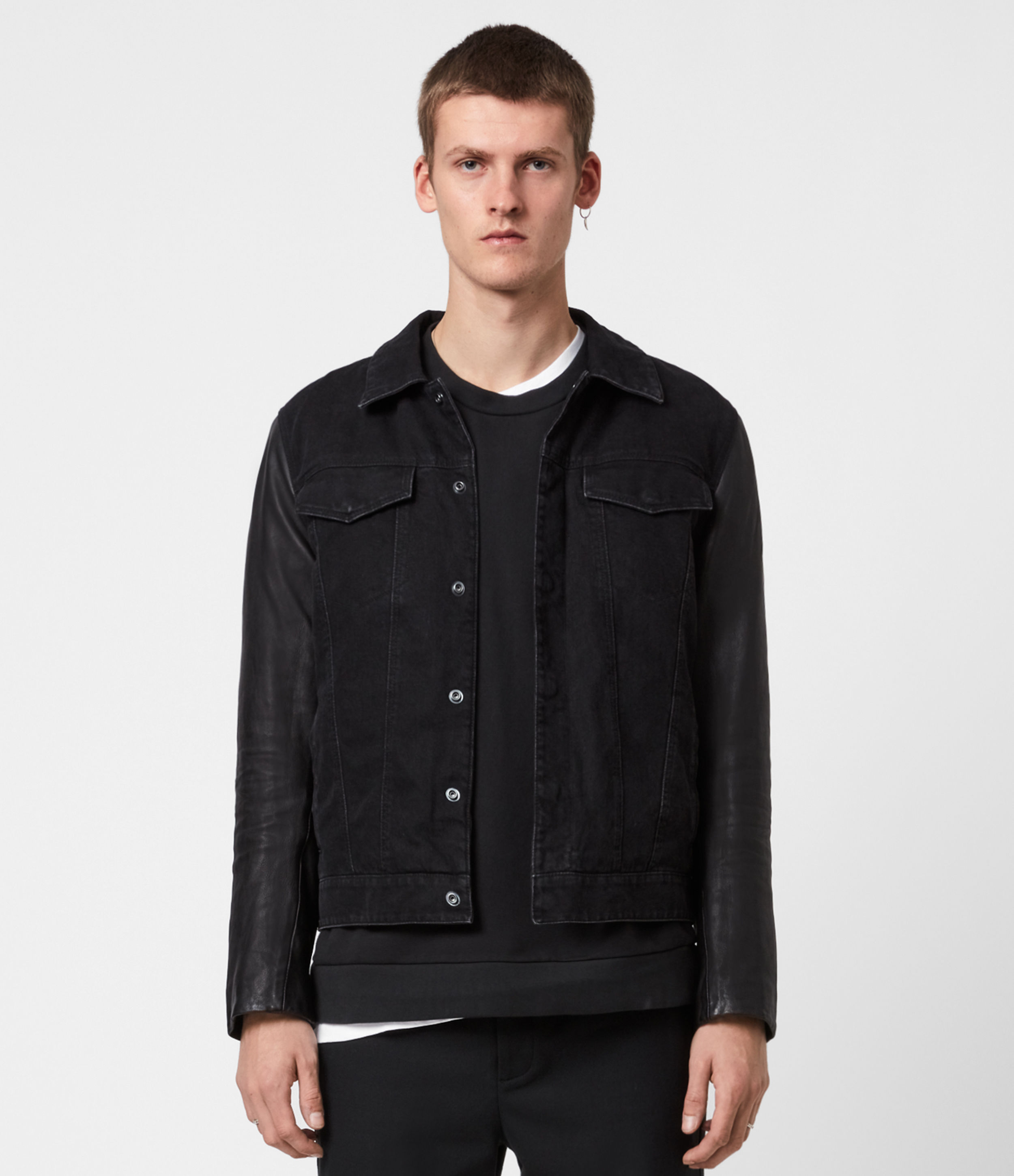 AllSaints Men's Leather Regular Fit Bennett Jacket, Black, Size: XXL