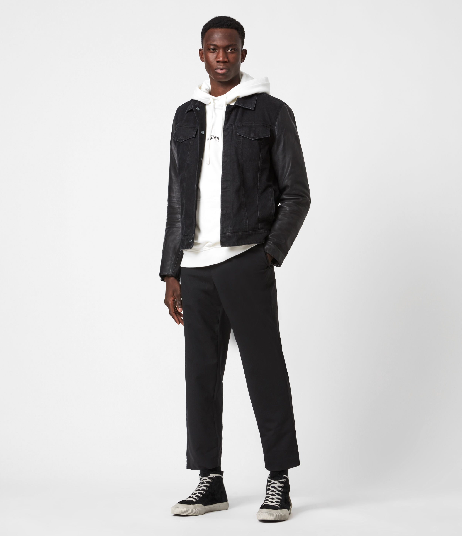 AllSaints Men's Leather Regular Fit Bennett Jacket, Black, Size: S