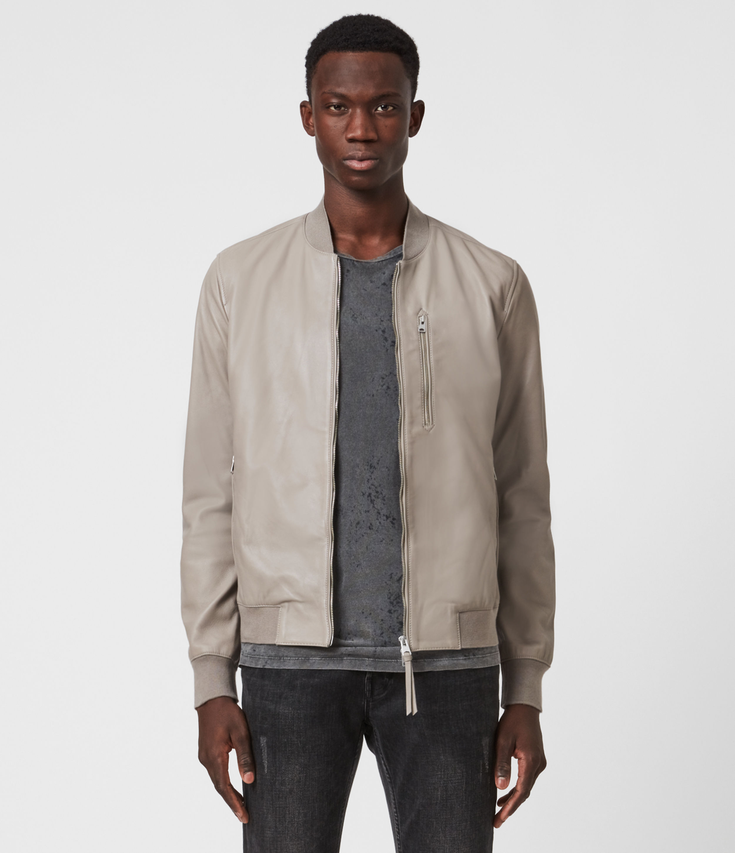 AllSaints Mens Kiro Leather Bomber Jacket, Gravel Grey, Size: L