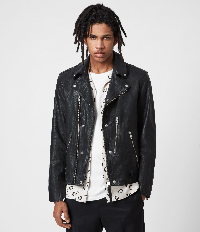 AllSaints Men's Berwick Leather Biker Jacket, Black, Size: L
