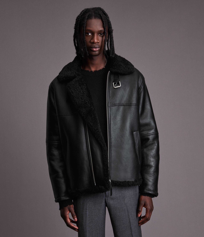 AllSaints Men's Cyprus Shearling Jacket, Black, Size: M