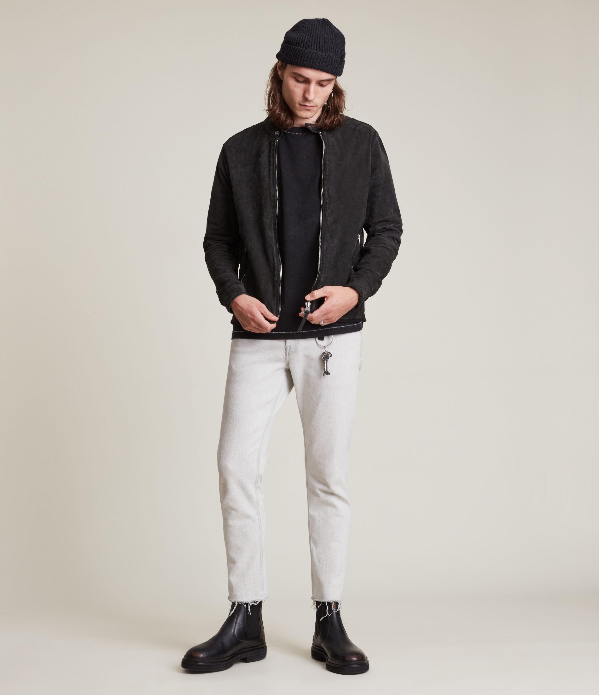 AllSaints Men's Malick Suede Jacket, Charcoal, Size: L