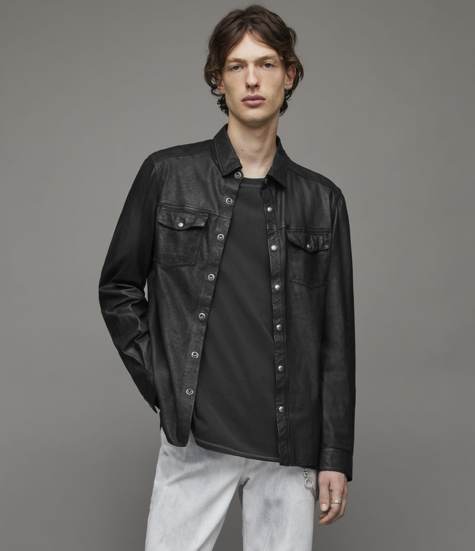 AllSaints Men's Irwin Leather Shirt, Black, Size: M