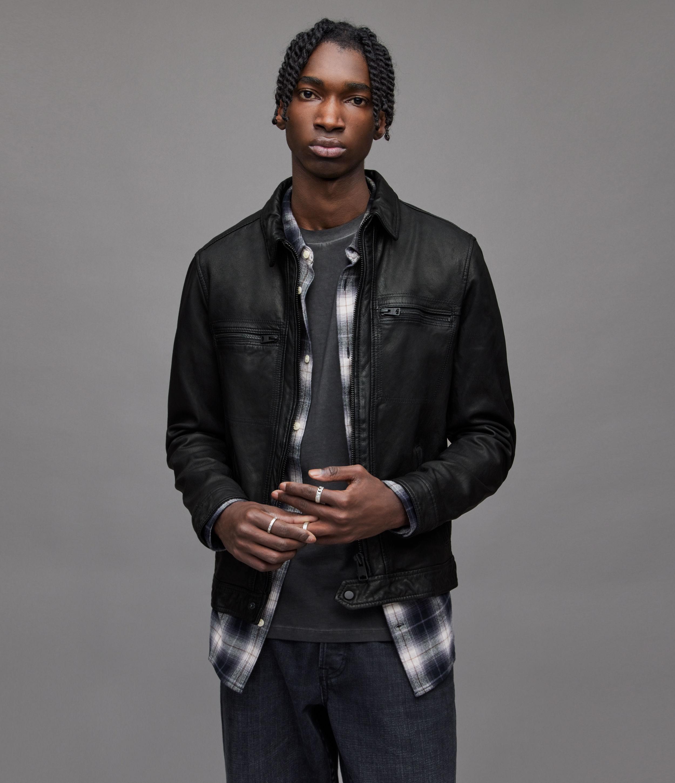 AllSaints Men's Leather Fully Lined Goat Regular Fit Classic Lark Jacket, Black, Size: L